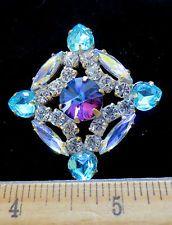 Amazing Czech Vintage Style Glass Rhinestone Button Crystal&Blue&Aurora  A74