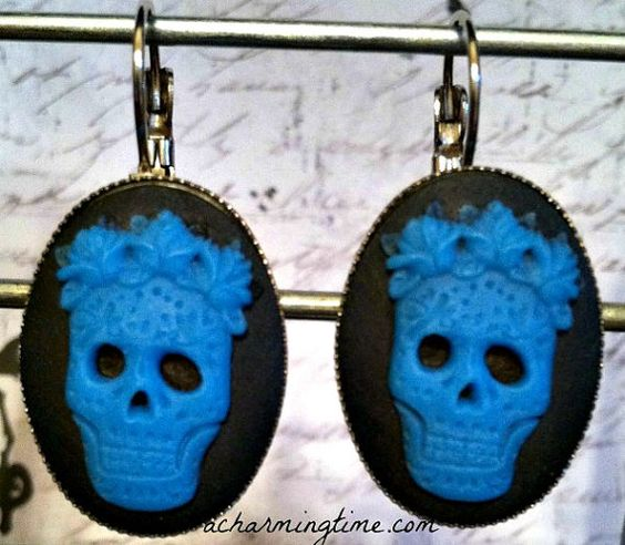 Dia de los Muertos Sugar Skull Earrings in Blue by ACharmingTime, $6.95 - Please Repin: NEW #Jewelry Dia de los Muertos Sugar #Skull Earrings in Blue by ACharmingTime #sugarskulls http://etsy.me/1kQgc0k