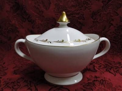 Royal Doulton Rondo, White and Gold Scrolls: Sugar Bowl ...