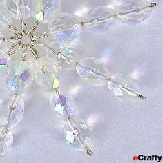 DIY Beaded Crystal Snowflakes Tutorial & Supplies from eCrafty.com ~ Fun and Easy Make-Ahead Holiday and Family Craft and Gifts
