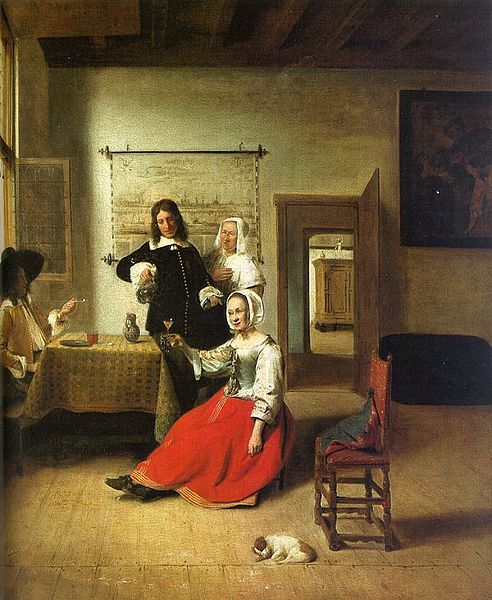 Pieter de Hooch (1629–after 1684) Title English: Woman Drinking with Soldiers Français : La Buveuse Date1658
