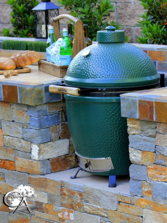 Big Green Egg Built In Smoker Outdoor Kitchen Sydney Peak Landscape Design