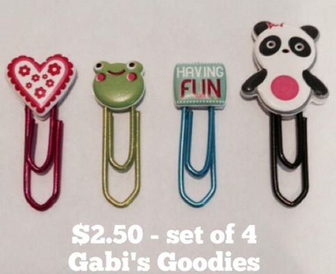 "Set of 4 Decorative Paper Clips - Vinyl coated 1"" paper clip adorned with Vinyl topper. 1 heart, 1 frog, 1 sign and 1 Panda"