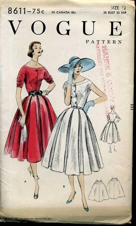 Vogue 8611; ©1955; One Piece Dress and Petticoat. Eight gored skirt with all around inverted pleats, joins the bodice at waist-line. Buttone...
