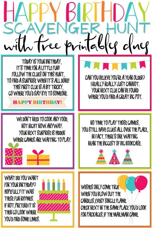 A Super Fun Birthday Scavenger Hunt Free Printable Play Party Plan Birthday Party Games For Kids Scavenger Hunt Birthday Birthday Fun