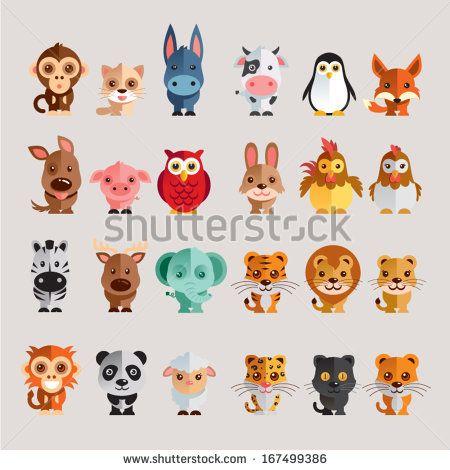 Conjunto de  ícones engraçados de animais em ilustração vetorial