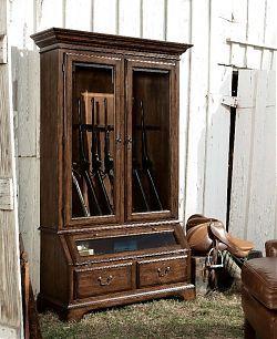 Vintage Walnut Gun Display Cabinet
