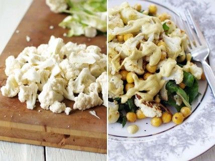 Roasted cauliflower, chickpeas and sauteed chard with Tahini Dressing