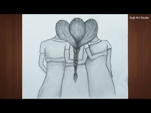 Best Friends Drawings Very Easy With Pencil For Beginners Step