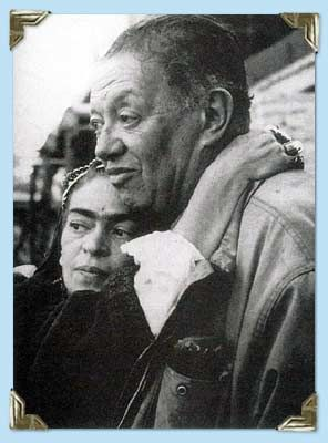 frida and diego, her arms around his neck, last picture together •1954