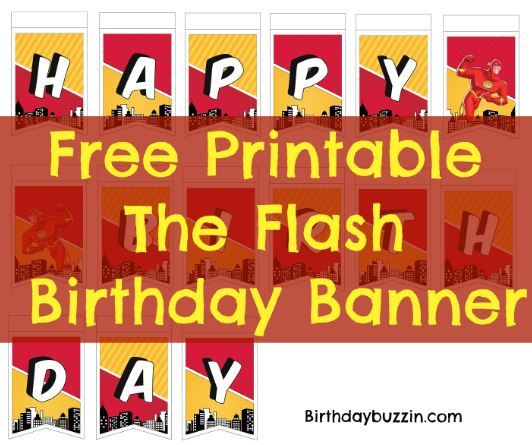 picture about Free Printable Happy Birthday Sign known as No cost Printable The Flash Birthday Banner Birthdays