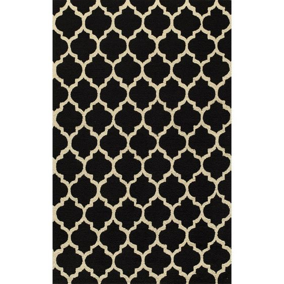 Simple Morocco Area Rug - Black  Living room