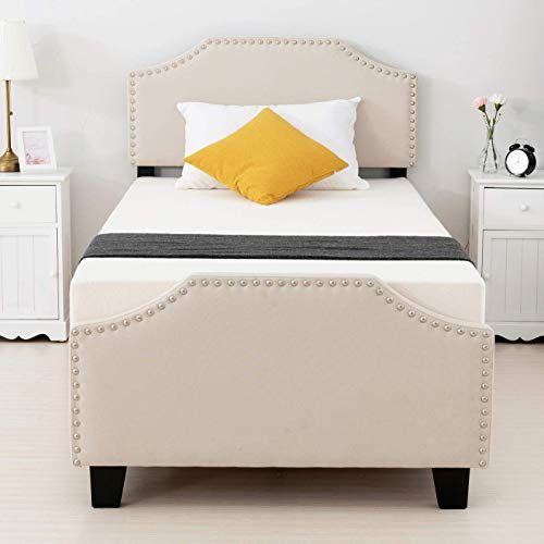 New Mecor Twin Upholstered Linen Platform Bed Curved Shape