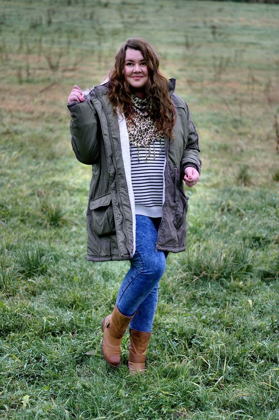 ThePlusSizeBlog.com - Plus size outfit - khaki parka, stripped pullover, leopard skirt, skinny jeans and brown booties