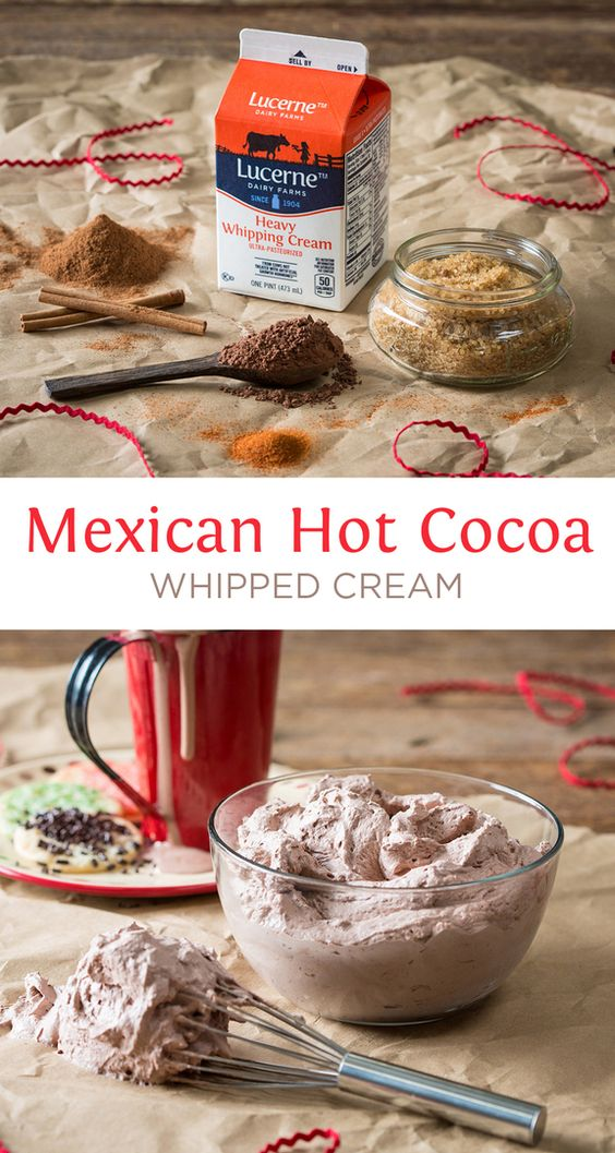 Mexican Hot Cocoa Whipped Cream - Easy whipped cream with things you ...