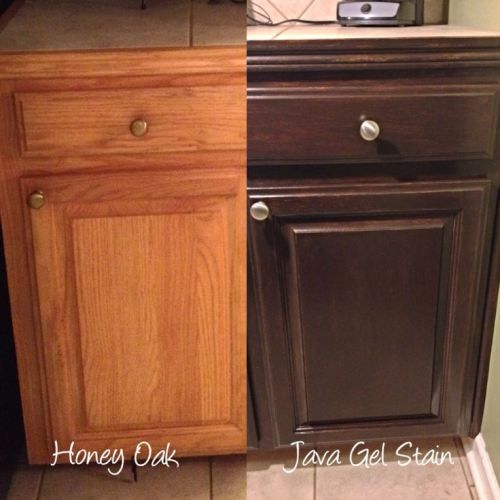 before and after stain oak cabinets from golden oak to a darker stain colour with gel stain or java