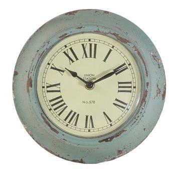 distressed duck egg blue wall clock kitchen