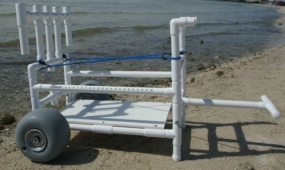Wheels beach cart and love this on pinterest for Homemade fishing cart