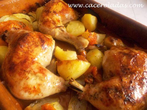 Caceroladas: Pollo al horno con patatas, tomates y cebolla.