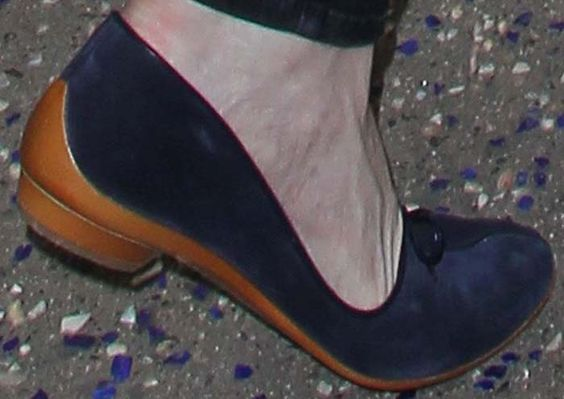 Kirsten Dunst wears a chic pair of Salvatore Ferragamo suede flats to complete her all-blue outfit