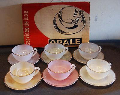 Vintage French Arcopal Opale Harlequin 6 Coffee Cups Saucers
