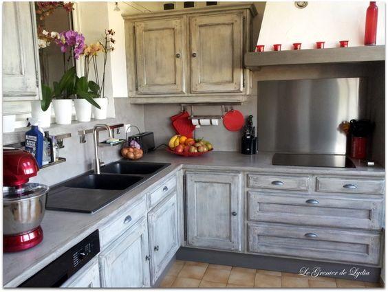 Relooking d'une cuisine Esprit Industriel patine sur meubles val d ...