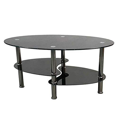 Modern Black Glass Oval Side Coffee Table Shelf Chrome Base Living