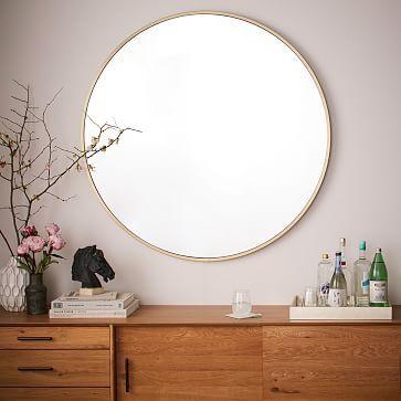 Metal framed oversized round mirror antique brass for Casa miroir rond