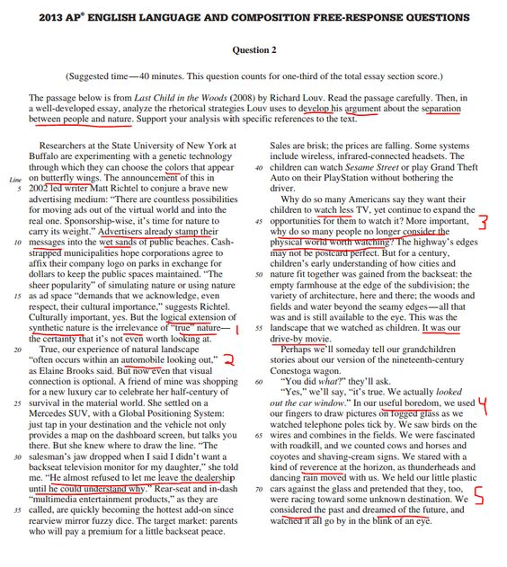 richard louv rhetorical essay (2008) by richard louv read the passage carefully then, in a well-developed essay, analyze the rhetorical strategies louv uses to develop his argument.