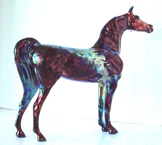 Wickedly stunning, one of a kind, & going to his new forever home!  See more of our exotic Art of Fire Raku horses--made in REAL FIRE--at www.lakeshorecollection.com