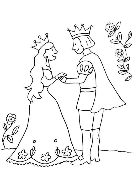 Prinz Und Prinzessin Auf Dem Kostenlosen Ausmalbild Halten Sich An Den Handen Und Sehen Sich Tief In Prinzessin Zum Ausmalen Ausmalbilder Prinz Und Prinzessin
