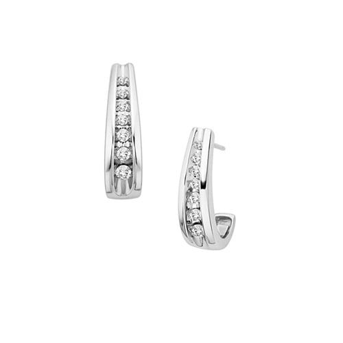 1 4 Ct Tw Journey Diamond Earrings In 10k White Gold Diamond Earrings White Gold Diamond