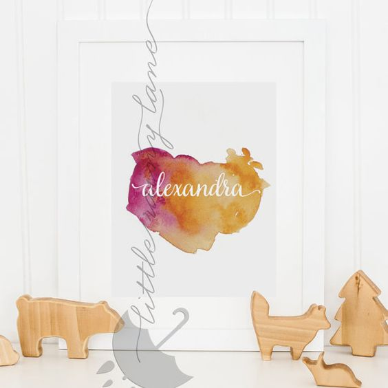 Baby name art - watercolor name - 25 color options