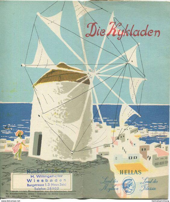 Griechenland - Die Kykladen 1957 - Faltblatt mit 9 Abbildungen