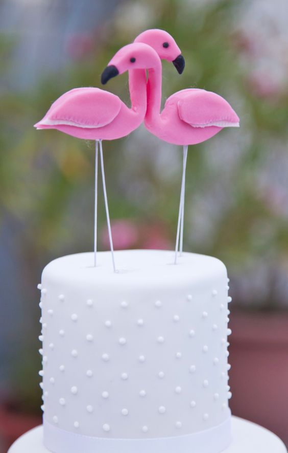 Wedding Cake with Pink Flamingos! Hochzeitstorte mit Rosa Flamingos!