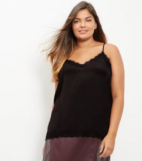 Curves Black Lace Trim Cami | New Look