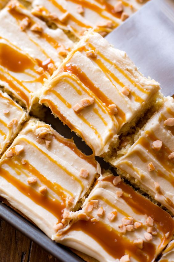 Salted Caramel Sheet Cake  - Delish.com