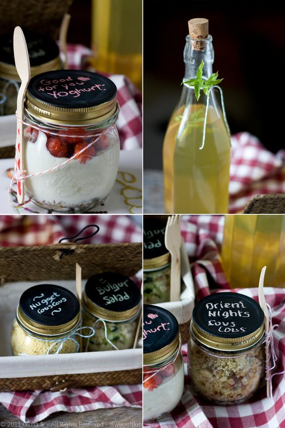 What a lovely picnic idea or for giving care packages. Label pretty jars with chalkboard paint. Precious.