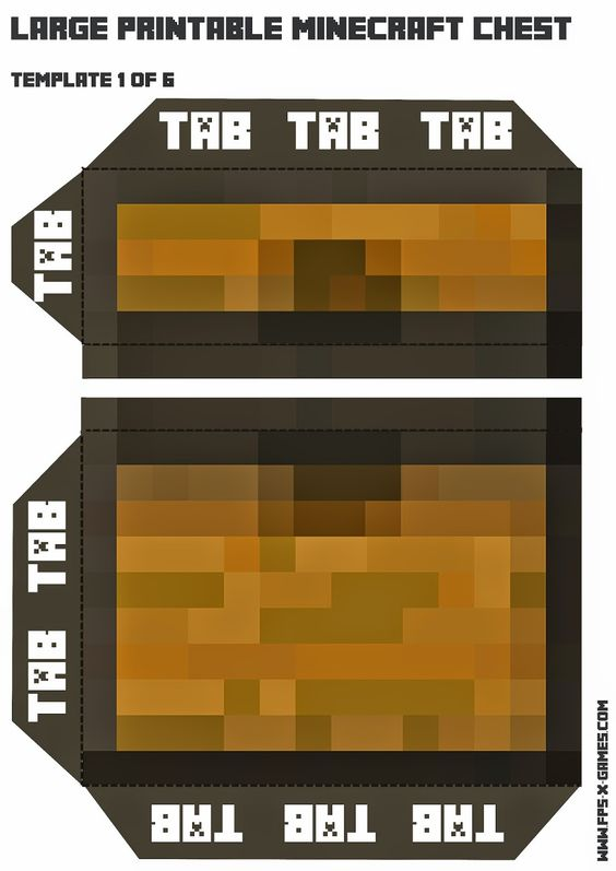Large Printable Minecraft Chest Template 1 Of 6 Fiesta