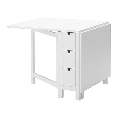 LOVE LOVE LOVE this table! I use it in my craft room.  Its easy to wipe off, has 3 deep drawers on each side, and both sides can be folded down to store away for more space!