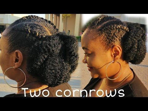 Simple Protective Style Slick Down 2 Cornrow Braids And Low Bun For 4c Natural Hair Relaxed Hair Youtube Relaxed Hair 2 Cornrow Braids 4c Natural Hair