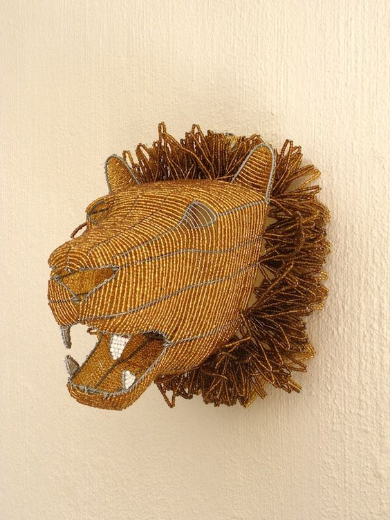 African Beaded Wire Animal Sculpture - LION HEAD by Hadeda on Etsy https://www.etsy.com/listing/245041037/african-beaded-wire-animal-sculpture