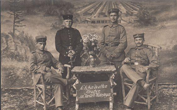 Original RPPC Photo Postcard GERMAN Troops w/ SIGN & SWORDS WWI Soldiers
