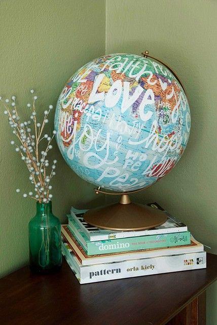 words on a globe