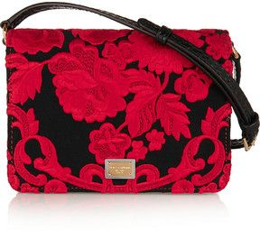 Dolce & Gabbana Ayers-paneled embroidered satin shoulder bag : Dolce & Gabbana Ayers-paneled embroidered satin shoulder bag, Dolce & Gabbana's lustrous black satin bag is embroidered with bold red florals? a motif inspired by flamenco styles. Perfectly proportioned to house your essentials, it opens to two leather-lined compartments with pouch pockets for cards and keys. .Daily designer fashion deals on sale on violashopping.com