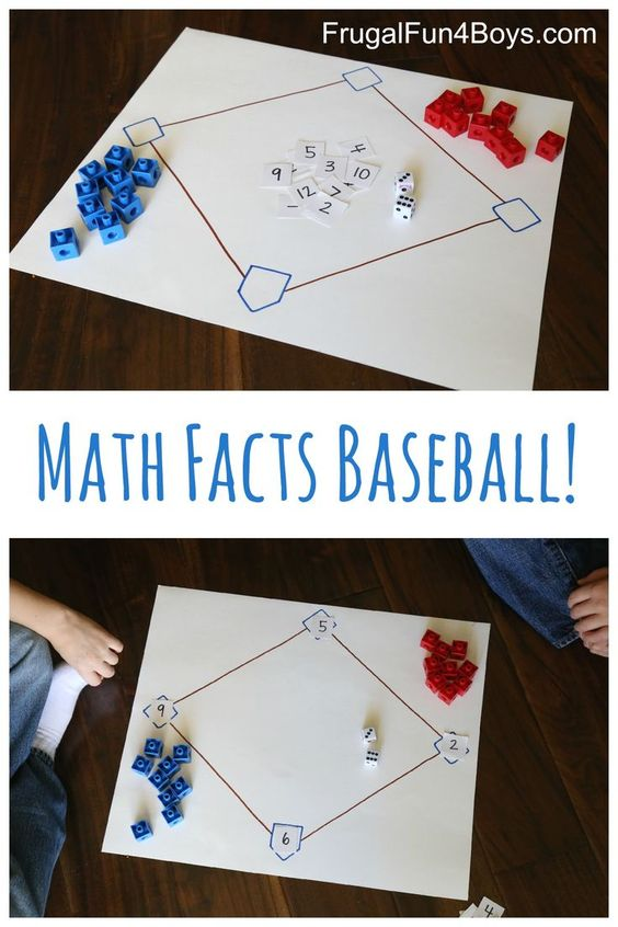 Math Facts Baseball - Use this game to practice addition, subtraction, multiplication, or division facts!: