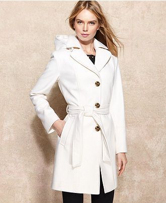 MICHAEL Michael Kors Hooded Belted Wool-Blend Coat - Sale