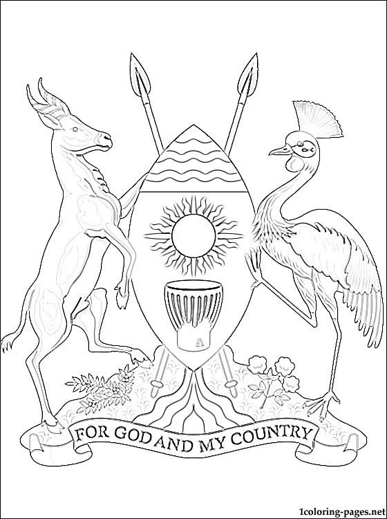 Uganda Coat Of Arms Coloring Page Coloring Pages World