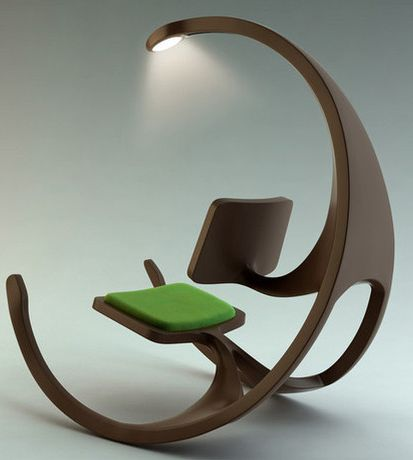 Beautiful industrial design - Lighted reading rocking chair