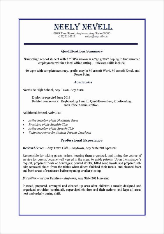 First Time Job Resume Lovely 10 Resume For First Job Out College First Job Resume Job Resume Template Student Resume Template